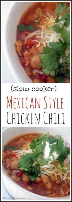 Slow Cooker Mexican Style Chicken Chili recipe - easy healthy homemade chili made in a crockpot. SnappyGourmet.com
