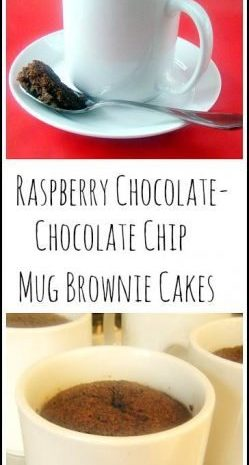 Raspberry Chocolate - Chocolate Chip Mug Brownie Cakes Recipe - easy homemade mug cake. SnappyGourmet.com