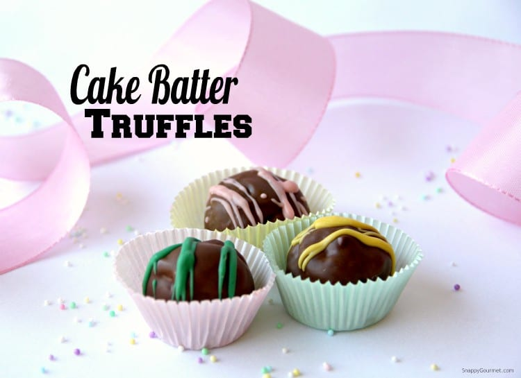 cake batter truffles with ribbon