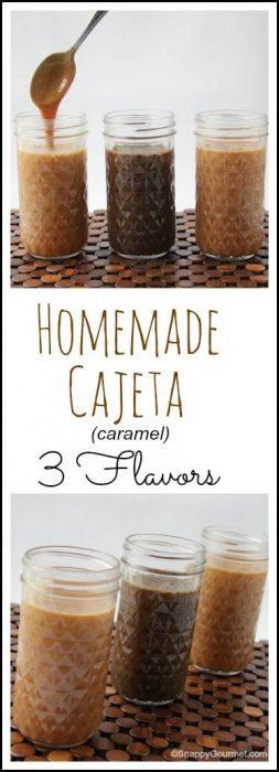 Homemade Cajeta (caramel) recipe - easy homemade dessert sauce in 3 Flavors! SnappyGourmet.com
