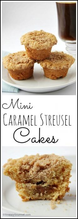 Mini Caramel Streusel Cakes recipe - easy homemade breakfast, snack, or dessert! SnappyGourmet.com