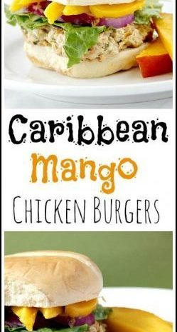 Caribbean Mango Chicken Burgers recipe - easy healthy homemade family dinner with lean ground chicken. Burgers also freeze well for a make ahead meal! SnappyGourmet.com