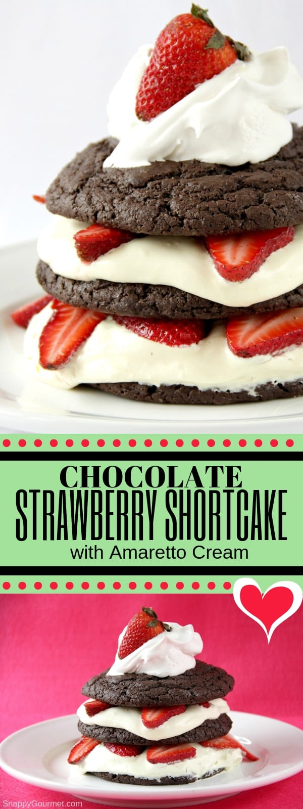 Chocolate Strawberry Shortcake with Amaretto Cream photo collage pin
