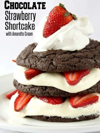 Chocolate Strawberry Shortcake with white background