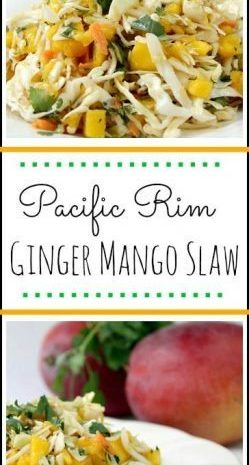 Pacific Rim Ginger Mango Slaw - easy homemade coleslaw! SnappyGourmet.com