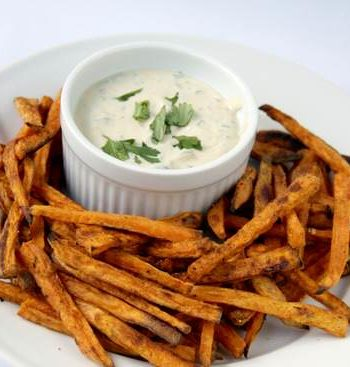 Caribbean Sweet Potato Baked Fries & Tangy Apricot Dipping Sauce