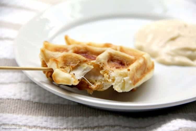 Chicken Stuffed Waffle Pops - easy chicken and waffles appetizer