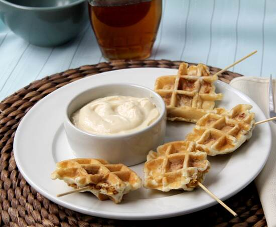 Crunchy Chicken Stuffed Waffles Pops & Maple Dijon Dip