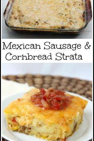 Mexican Sausage & Cornbread Strata Recipe | snappygourmet.com