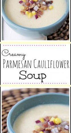 Creamy Parmesan Cauliflower Soup - easy homemade soup recipe! SnappyGourmet.com
