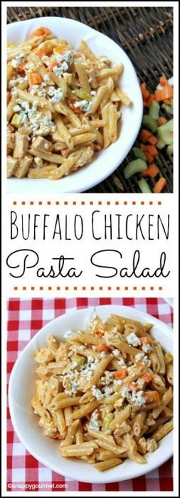 Buffalo Chicken Pasta Salad Recipe - easy twist on wings with ranch and blue cheese and perfect for summer picnics! SnappyGourmet.com