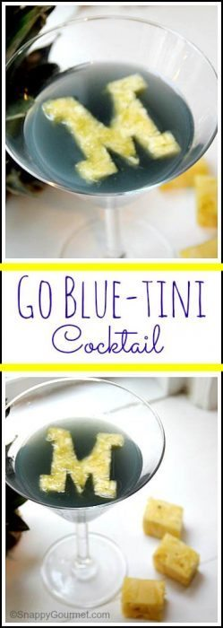 Go Blue-tini cocktail recipe - easy drink inspired by University of MIchigan Wolverines. SnappyGourmet.com