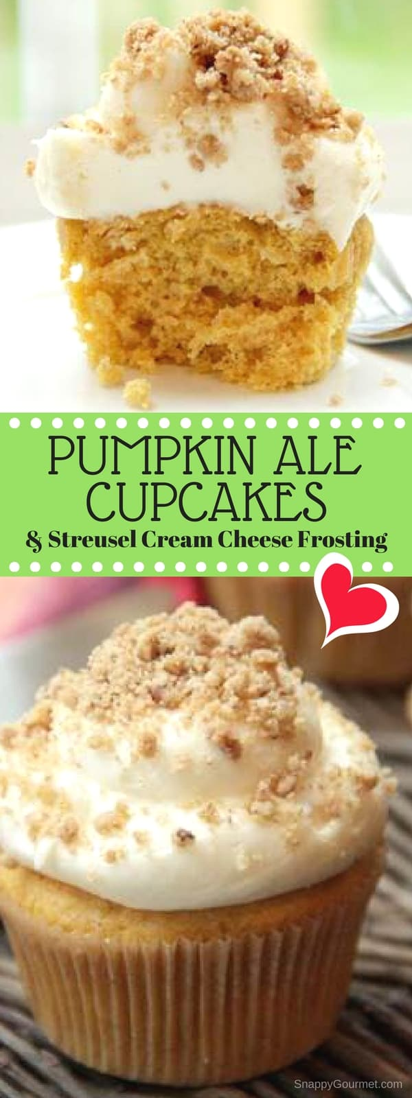 Pumpkin Ale Cupcakes Recipe - easy homemade pumpkin cupcakes with beer and a cream cheese frosting and streusel topping!
