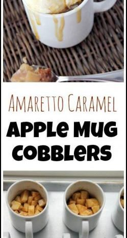 Amaretto Caramel Apple Mug Cobblers recipe - easy homemade dessert baked in mugs. SnappyGourmet.com