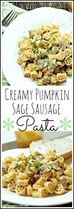 Creamy Pumpkin Sage Sausage Pasta recipe - easy homemade fall family dinner. SnappyGourmet.com