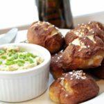 Mini Pretzel Rolls with Bacon Cheddar Butter Spread