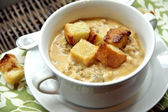 Cheesy Pumpkin & Sausage Soup Recipe   snappygourmet.com
