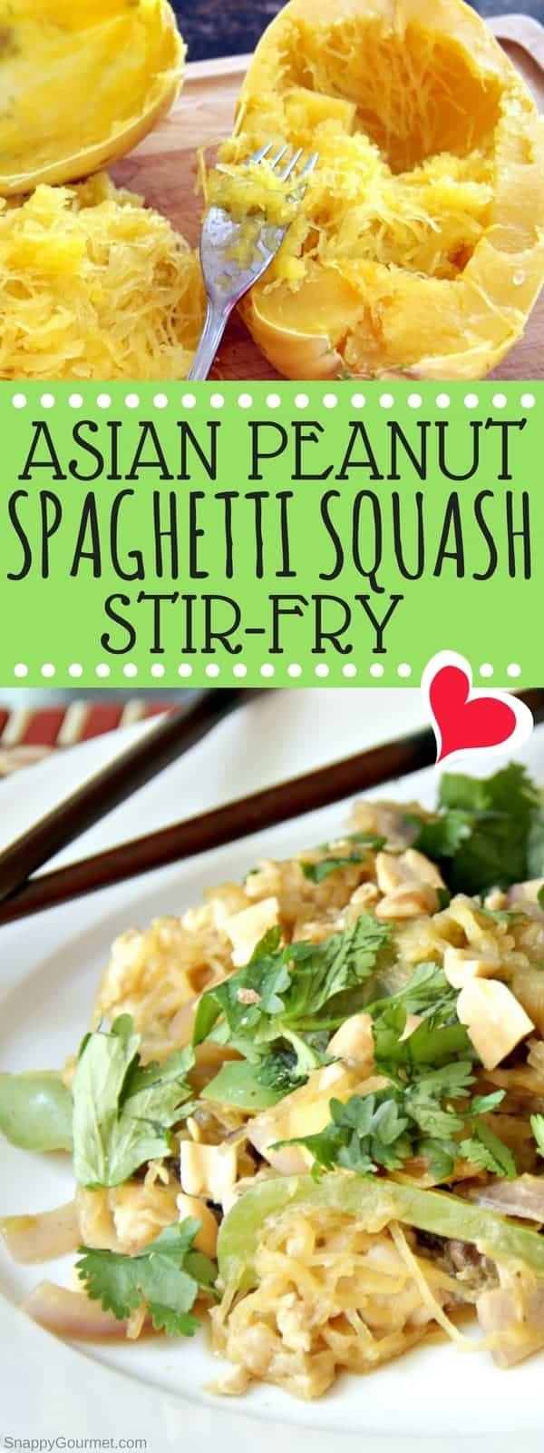 Asian Peanut Spaghetti Squash Stir-Fry Recipe - easy homemade chicken stir fry similar to pad thai
