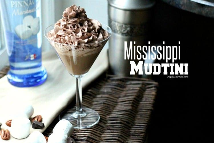 Mississippi Mudtini Recipe - simple Chocolate Martini recipe with marshmallow vodka, Godiva chocolate liqueuer, and Nocello. Easy chocolate cocktail! SnappyGourmet.com