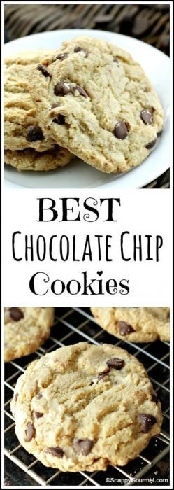 Best Chocolate Chip Cookie Recipe - Crispy on the outside, chewy and the softest on the inside for the best homemade from scratch cookies! SnappyGourmet.com