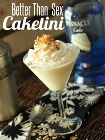 Better Than Sex Caketini Cocktail Recipe - Better Than Sex Cake Martini with cake vodka, pineapple, and coconut and based on the cake recipe. SnappyGourmet.com