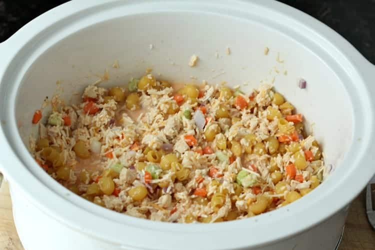 Buffalo Chicken Mac and Cheese (Crockpot) Recipe - in the slow cooker before cooking