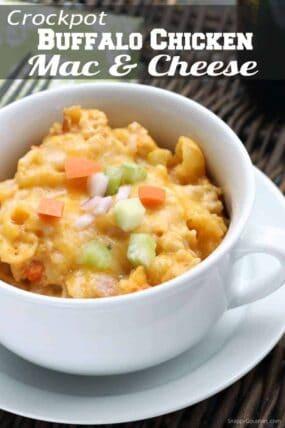 Buffalo Chicken Mac and Cheese (Crockpot) Recipe - Easy buffalo chicken macaroni and cheese made in a slow cooker
