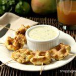 Caribbean Shrimp Stuffed Waffle Pops & Mango Cilantro Dip