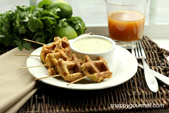 Caribbean Shrimp Stuffed Waffle Pops & Mango Cilantro Dip Recipe   SnappyGourmet.com