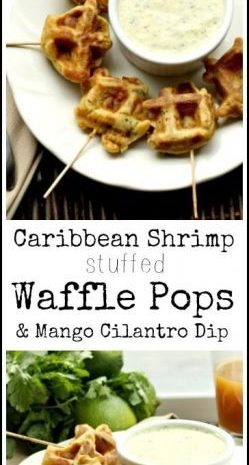 Caribbean Shrimp Stuffed Waffle Pops & Mango Cilantro Dip recipe - fun homemade appetizer or snack | SnappyGourmet.com
