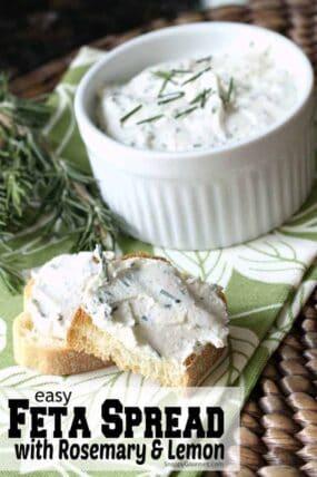 feta spread in bowl with crostini