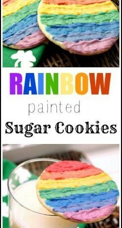 Rainbow Painted Sugar Cookies recipe & easy fun kid craft in one! SnappyGourmet.com