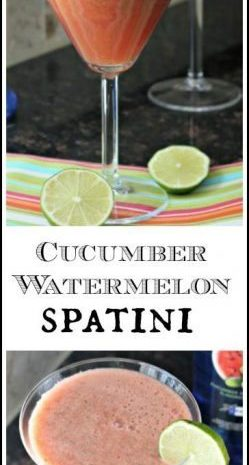 Cucumber Watermelon Spatini Cocktail Recipe - easy summer drink | SnappyGourmet.com