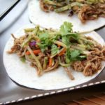 General Tso's Slow Cooked Pork Tacos with Orange Broccoli Slaw (Slow Cooker)