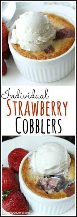 Individual Strawberry Cobblers - easy summer mini dessert recipe made in ramekins. SnappyGourmet.com