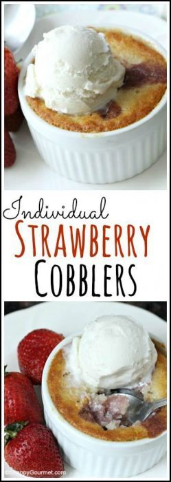 Individual Strawberry Cobblers - easy summer mini dessert recipe made in ramekins. SnappyGourmet.com