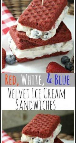 Red, White, & Blue Velvet Ice Cream Sandwiches Recipe - easy summer frozen dessert that the kids will love! SnappyGourmet.com