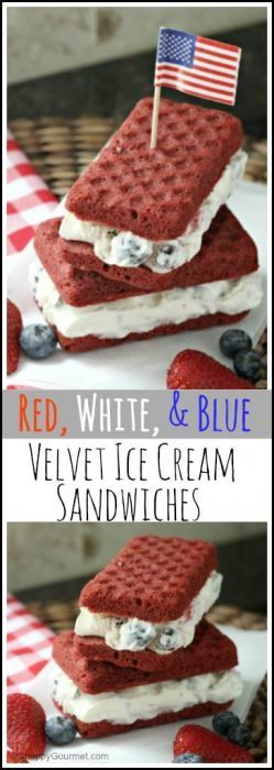 Red, White, & Blue Velvet Ice Cream Sandwiches Recipe - easy summer frozen dessert that the kids will love! SnappyGourmet.com