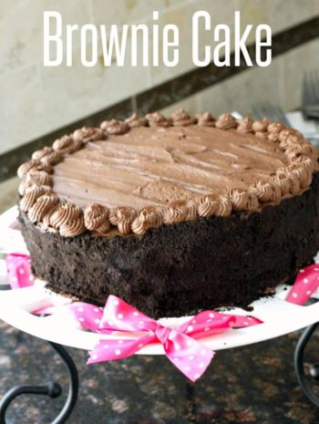 Homemade Birthday Chocolate Brownie Cake Recipe - a from scratch double layer rich chocolate cake