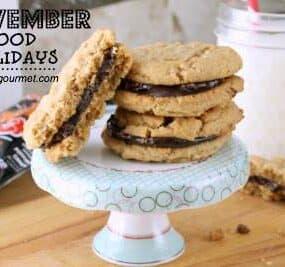 peanut butter chocolate cookies - november food holidays