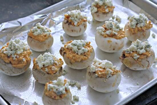 Buffalo Chicken Stuffed Mushrooms recipe - gluten free appetizer   SnappyGourmet.com