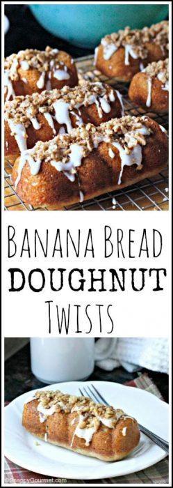 Banana Bread Doughnut Twists - easy homemade doughnut recipe | SnappyGourmet.com