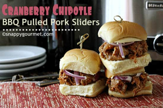 Slow Cooker Cranberry Chipotle BBQ Pulled Pork Sliders