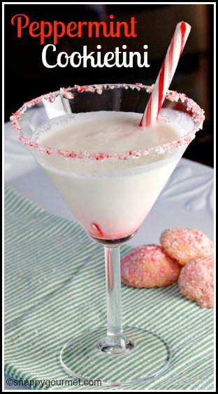 Peppermint Cookietini Cocktail - easy dessert drink recipe for the holidays or Christmas season! SnappyGourmet.com