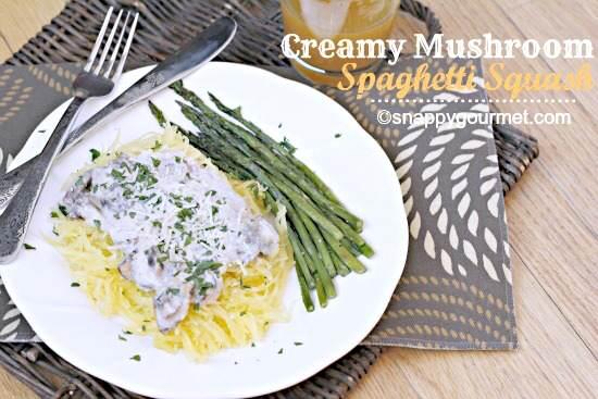 Creamy Mushroom Spaghetti Squash | SnappyGourmet.com