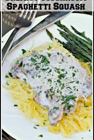 Creamy Mushroom Spaghetti Squash recipe - easy meatless (vegetarian) family dinner! SnappyGourmet.com