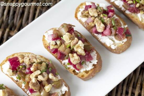 Bean & Beet Salad Crostini Appetizer Recipe | snappygourmet.com