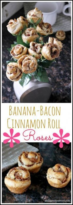 Banana Bacon Cinnamon Roll Roses recipe - special easy breakfast treat for the best Father's Day! SnappyGourmet.com