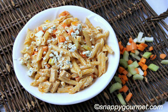 Buffalo Chicken Pasta Salad Recipe | SnappyGourmet.com