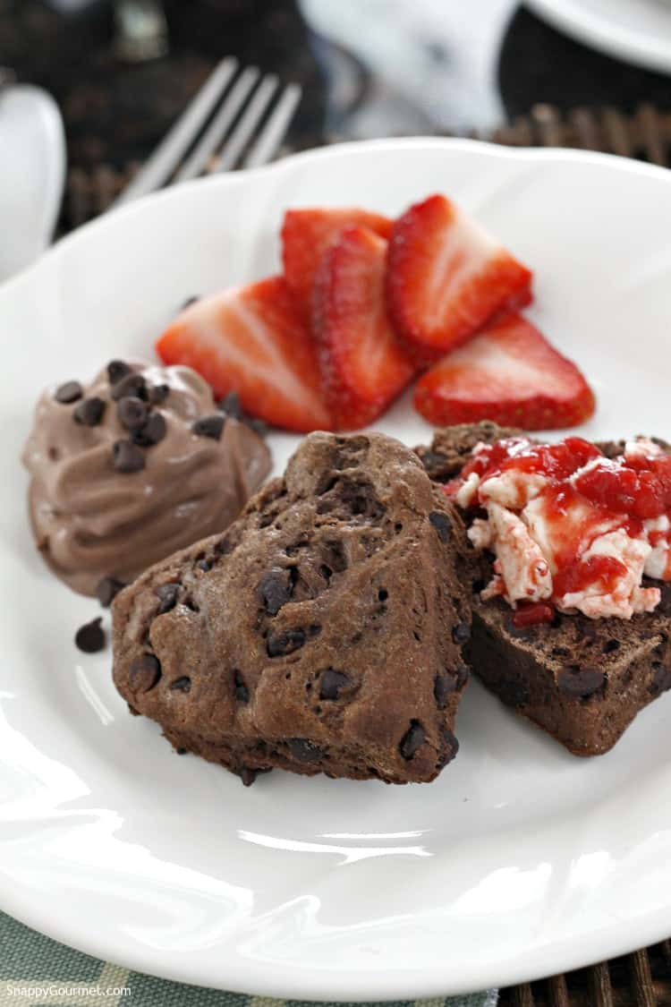 Chocolate Chocolate Chip Biscuits Recipe - easy chocolate biscuit recipe with strawberry butter.